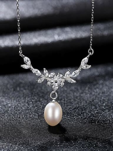 White 7B07 925 Sterling Silver  Micro zircon inlaid freshwater pearl necklace