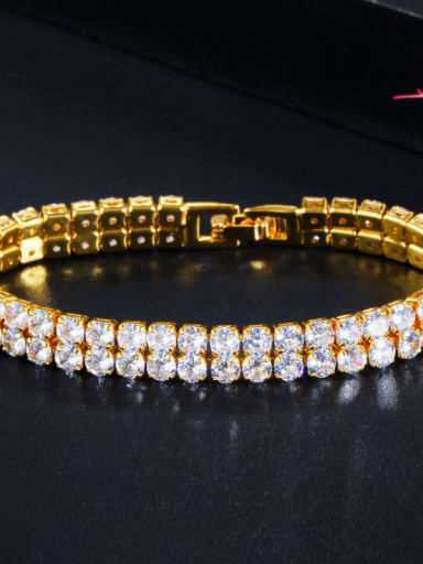 Golden white Copper Cubic Zirconia Geometric Dainty Bracelet