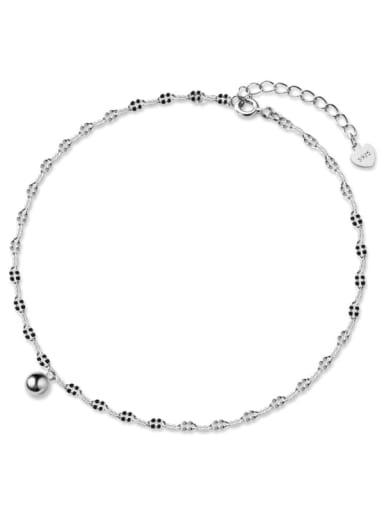 925 Sterling Silver Round Minimalist Anklet