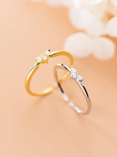 925 Sterling Silver Cubic Zirconia  Heart Minimalist Free Size Ring
