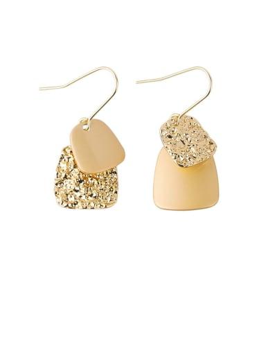 Brass Enamel Geometric Minimalist Hook Earring