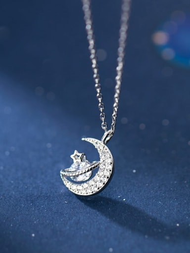 925 Sterling Silver Cubic Zirconia Fashion diamond planet  Necklace