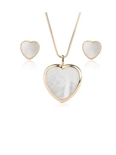 Copper  Minimalist Heart  Shell Earring and Necklace Set