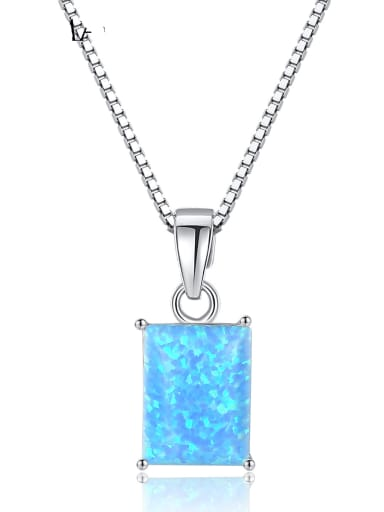 925 Sterling Silver Blue Opal simple Square Pendant Necklace