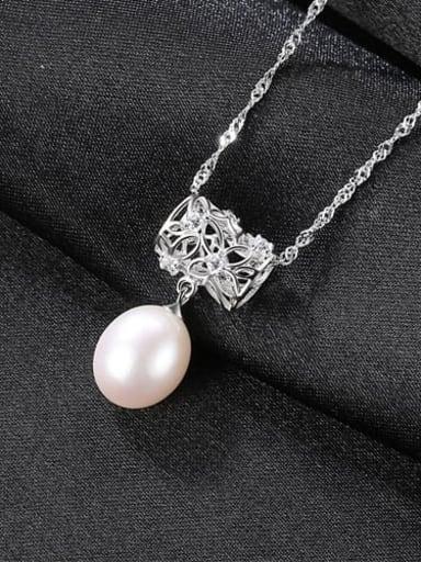White Platinum 6k03 925 Sterling Silver Freshwater Pearl Fashion irregular pendant  Necklace