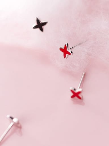 925 Sterling Silver Red Enamel Star Minimalist Stud Earring