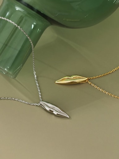 925 sterling silver simple glossy Leaf Pendant Necklace