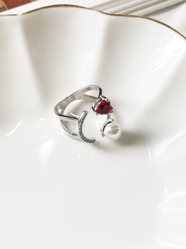 925 Sterling Silver Cubic Zirconia Love Red Diamond Smile  Minimalist Stackable Ring