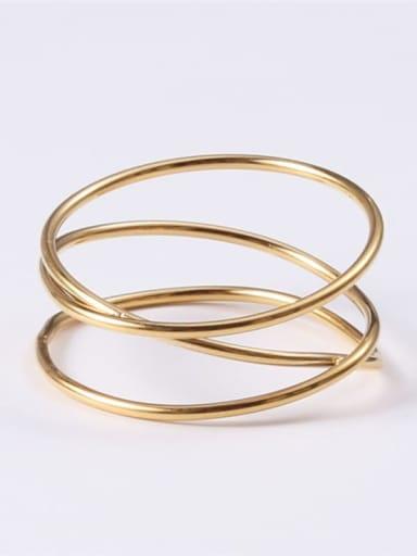 Gold 6 A56 Titanium Round Minimalist Midi Ring