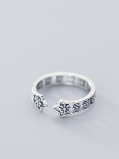 925 Sterling Silver  Hollow Flower Free Size Midi Ring