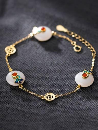 925 Sterling Silver Enamel Geometric Minimalist Bracelet