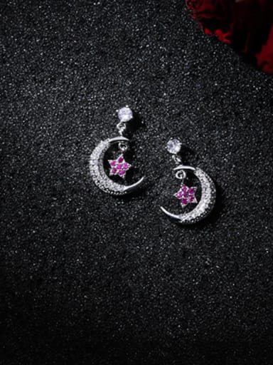 Alloy With Platinum Plated Cute Moon Stud Earrings