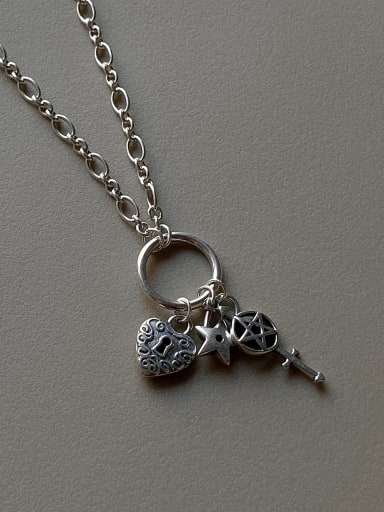925 Sterling Silver Retro long key lock Necklace