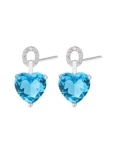 Copper Glass Stone Heart Dainty Stud Earring