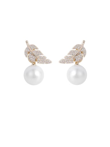 Alloy With Rose Gold Plated Fashion Leaf Drop Earrings