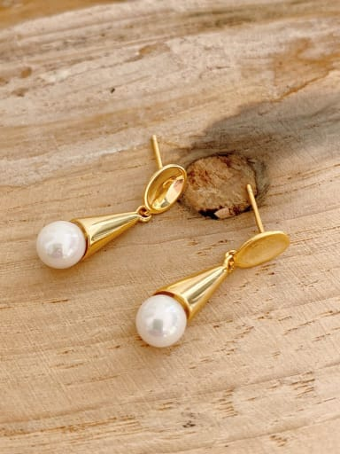 925 Sterling Silver Imitation Pearl Ice Cream Stud Minimalist Drop Earring