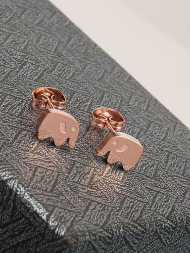 rose Titanium Elephant Cute Stud Earring