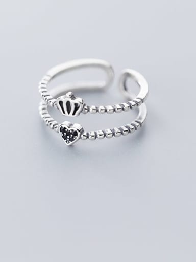 925 Sterling Silver Crown Vintage Free Size Stackable Ring