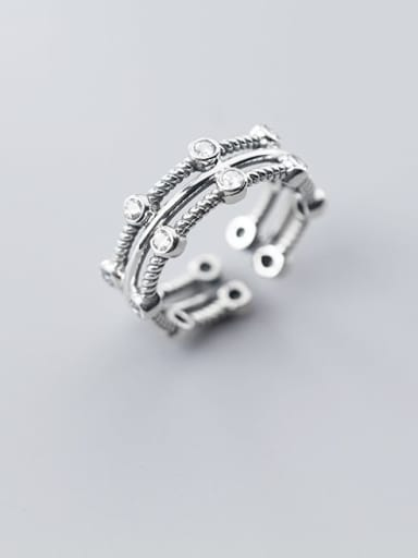 925 Sterling Silver Retro fashion multilayer Stackable Ring
