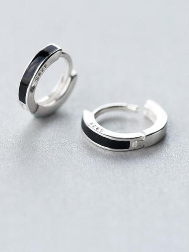 925 Sterling Silver Black Enamel Round Minimalist Huggie Earring