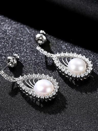 White 4f05 925 Sterling Silver Cubic Zirconia White Geometric Trend Drop Earring