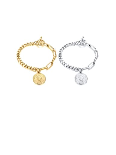 Stainless Steel With White Gold Plated Simplistic Round Pendant Bracelets