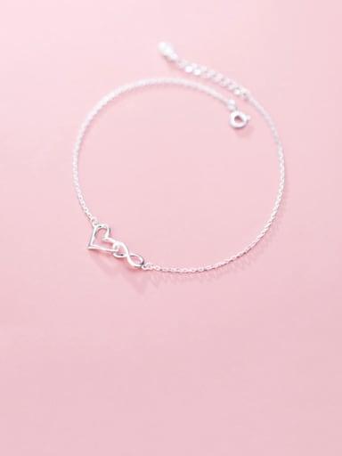 925 Sterling Silver Hollow Heart Minimalist Link Bracelet