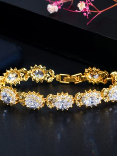 white Copper Cubic Zirconia Flower Luxury Bracelet