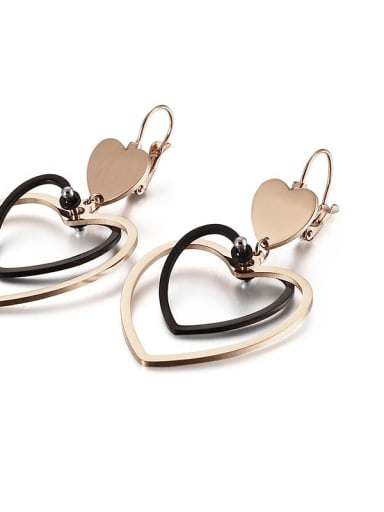 rose black Stainless Steel Hollow  Heart Minimalist Hook Earring