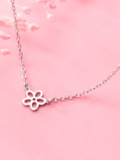 925 Sterling Silver Simple Smooth Hollow Flower Pendant Necklace