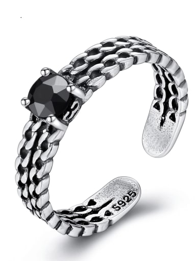 925 Sterling Silver personality retro three twist  Free Size ring
