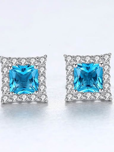 925 Sterling Silver Cubic Zirconia simple fashion geometric day study Earring
