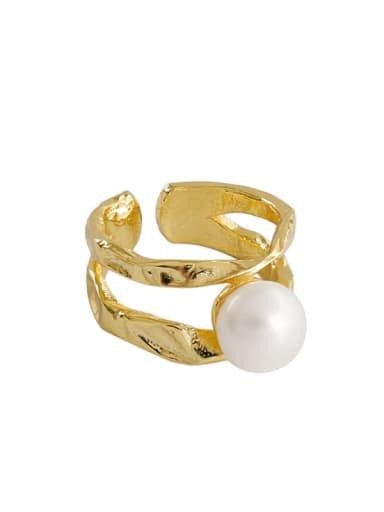 S925 Sterling Silver Irregular Line Double Layer Micro Setting Pearl Free Size Ring
