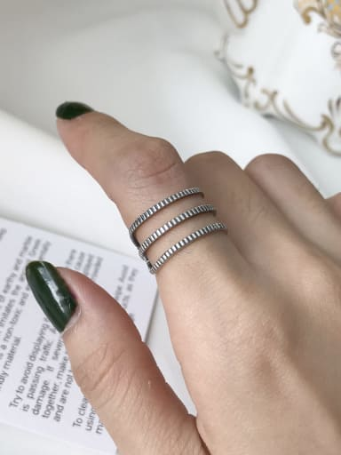 925 Sterling Silver Geometric Vintage Stackable Ring