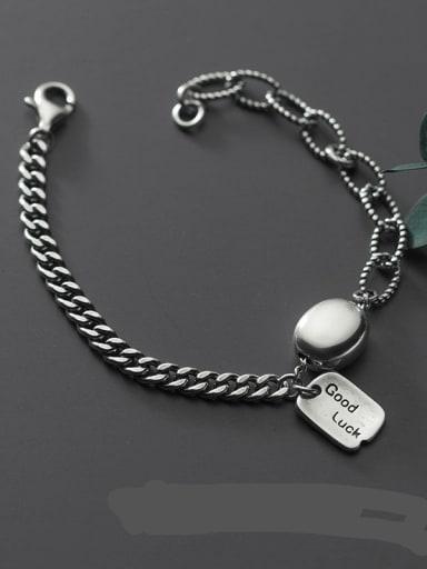 925 Sterling Silver Geometric LUCKY Vintage Link Bracelet
