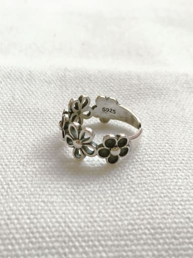 925 Sterling Silver  Vintage  Hollow Flower  free size Ring