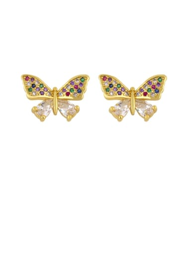butterfly Brass Cubic Zirconia Butterfly Dainty Stud Earring