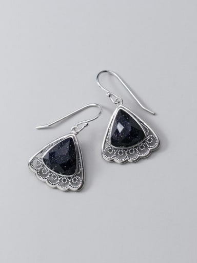 925 Sterling Silver Resin Black Triangle Vintage Hook Earring