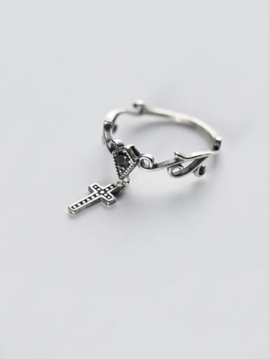 925 Sterling Silver Vintage  Cross Free Size Midi Ring