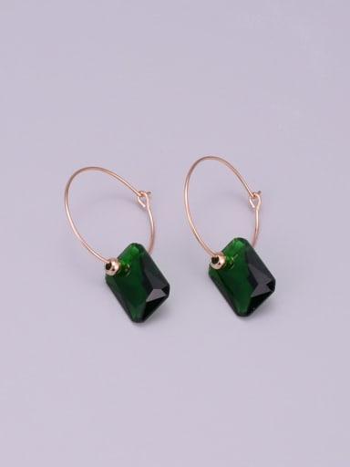 Titanium Emerald Green Geometric Minimalist Hoop Earring