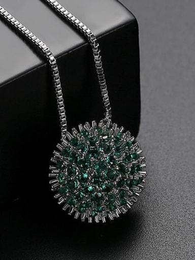 Green plating platinum t10b23 Copper Cubic Zirconia Retro round flower pendant  Necklace