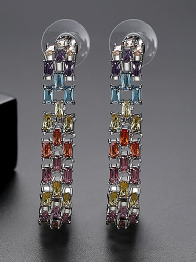 Color plating platinum t04i17 Copper Cubic Zirconia Multi Color Square Statement Drop Earring