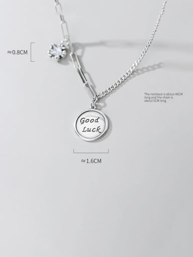 925 Sterling Silver Cute Round Good Luck  Necklace