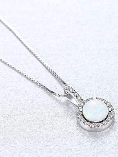 White 20F08 925 Sterling Silver Opal Simple round pendant Necklace