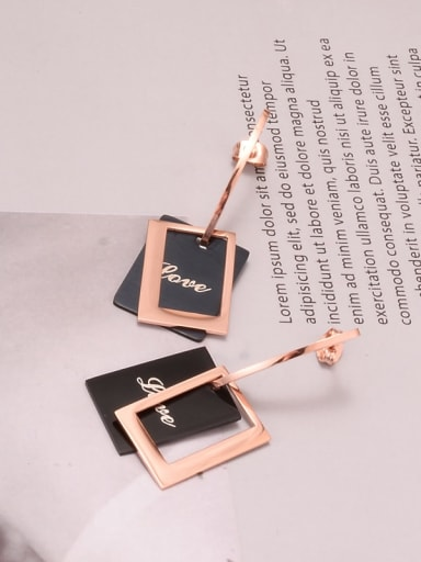 Titanium Black Enamel Geometric Minimalist Drop Earring
