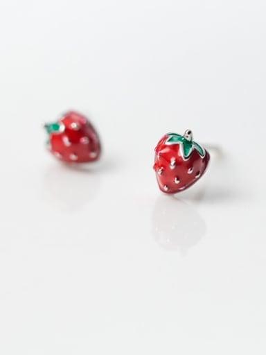 925 Sterling Silver Enamel Friut Cute Strawberry Stud Earring