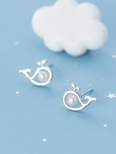 925 Sterling Silver Imitation Pearl Fish Cute Stud Earring
