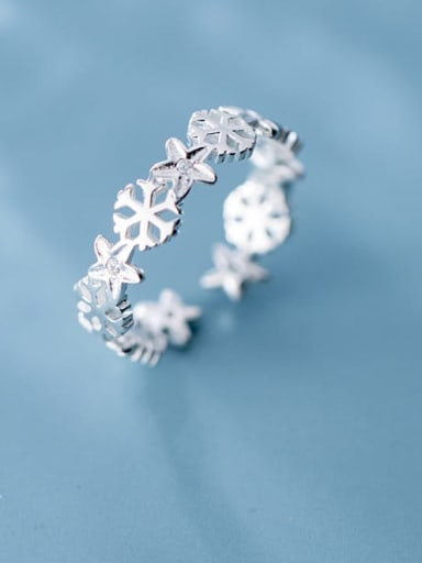 925 Sterling Silver  Hollow snowflake Classic free size Ring
