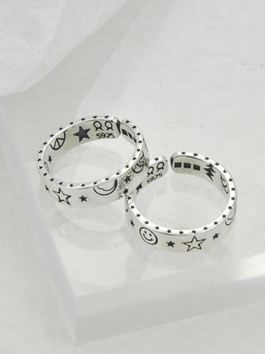 Vintage  Sterling Silver With Platinum Plated Fashion Smiley Pentagram  Free Size Rings