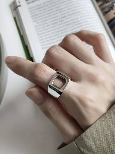 925 Sterling Silver  Minimalist Hollow Square Free Size Band Ring